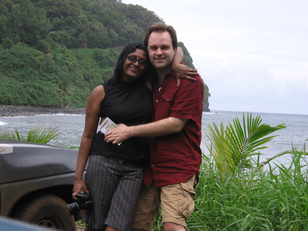 Brandon and Premila at the black sand beach